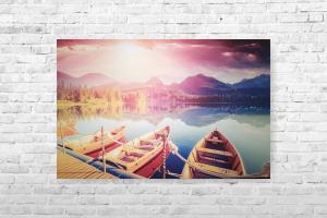 """Картина на холсте """"Лодки"""" 85х55см"""